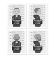 Set of balck and white male mugshots vector image