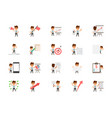 set of happy office workers flat icons vector image vector image