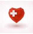 Swiss flag in shape diamond glass heart vector image