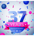 Thirty seven years anniversary celebration on grey vector image vector image
