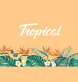 tropical flower frame with summer holidays text vector image