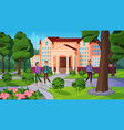 university landscape with people vector image vector image