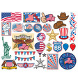 usa icons set vector image vector image