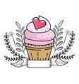valntines day bakery cupcake cartoon vector image