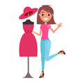 young happy woman shopping for a dress smiling vector image