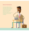 African businessman drinking coffee with a laptop vector image