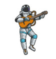 astronaut in spacesuit play guitar sketch vector image vector image