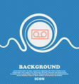 audio cassette sign icon Blue and white abstract vector image
