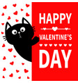 black cat holding signboard cute cartoon funny vector image vector image