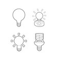 bulb icon set outline style vector image vector image