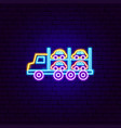 car transport trailer neon sign vector image