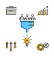 creative icons for team with business plan vector image vector image