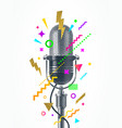engraved style retro microphone vector image