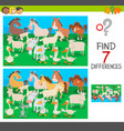 find differences game with farm animal characters vector image vector image