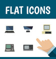 flat icon laptop set of computer pc technology vector image vector image