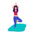 girl is doing yoga vector image