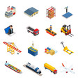 global logistics isometric icons set of different vector image vector image