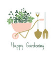 hand drawn gardening banner wheelbarrow plants vector image vector image