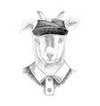 hand drawn portrait goat bawith accessories vector image vector image