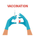hands with syringe and vial vaccination vector image vector image