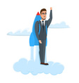 Happy Businessman flying with rocket backpack vector image