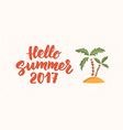 hello summer text with beach design elements vector image vector image
