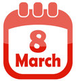 icon of march 8 in a calendar vector image vector image