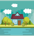 landscape with house and lake scene vector image