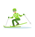 male athlete character in sportswear skiing vector image