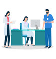 medical staff doctor and secretary with nurse vector image vector image