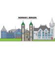 norway bergen city skyline architecture vector image vector image