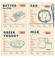 nutrition facts butter egg yogurt and milk vector image