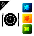 plate with clock fork and knife icon isolated on vector image vector image