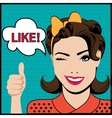 Pop art winking woman with thumbs up gesture vector image vector image
