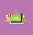 ppc pay per click business with gold money coin vector image vector image