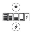 set battery charge indicator icons isolated on vector image vector image