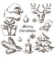 set merry christmas hand drawn icons vector image