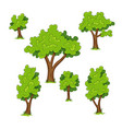set of different trees with grass vector image