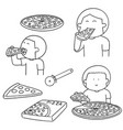 set of man eating pizza vector image