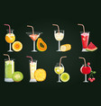 set tropical and exotic cocktails with fruits vector image