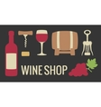 Set wine icon Bottle glass of wine bunch of vector image