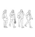 set young and adult men standing and walking vector image vector image