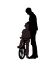 silhouettes father and son vector image vector image