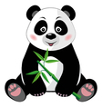Sitting cute panda with bamboo isolated on white vector image