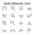 social distancing icon set in thin line style vector image vector image
