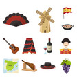 spain country cartoon icons in set collection for vector image