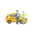 Taxi Driver Meeting A Client In Airport Standing vector image vector image