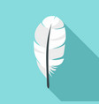 white feather icon flat style vector image