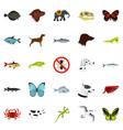 wild animals icons set flat style vector image