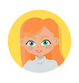 girl with red long hair simple cartoon style vector image